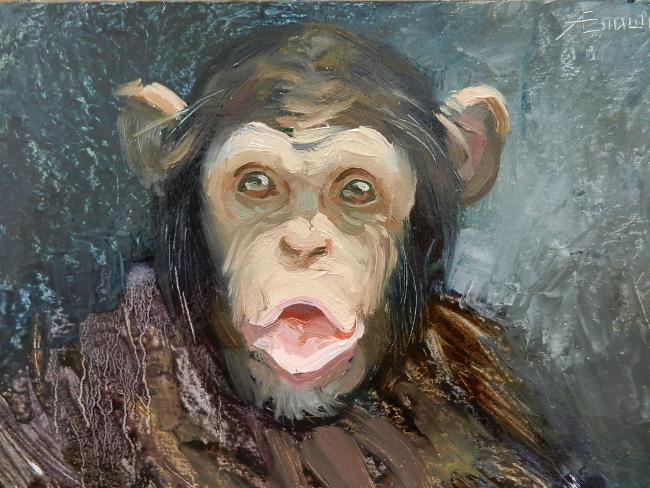020 Портрет шимпанзе. Живопись маслом. Художник Алексей Епишин