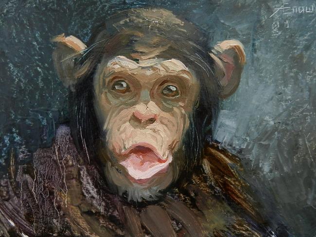 023 Портрет шимпанзе. Живопись маслом. Художник Алексей Епишин