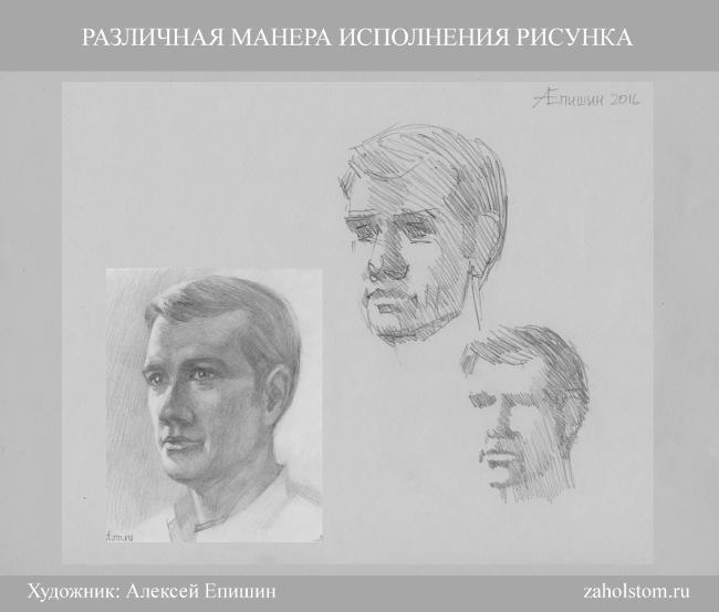 024 Как рисовать портрет. Различная манера и техника исполнения рисунка