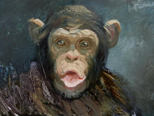 026 Портрет шимпанзе. Живопись маслом. Художник Алексей Епишин
